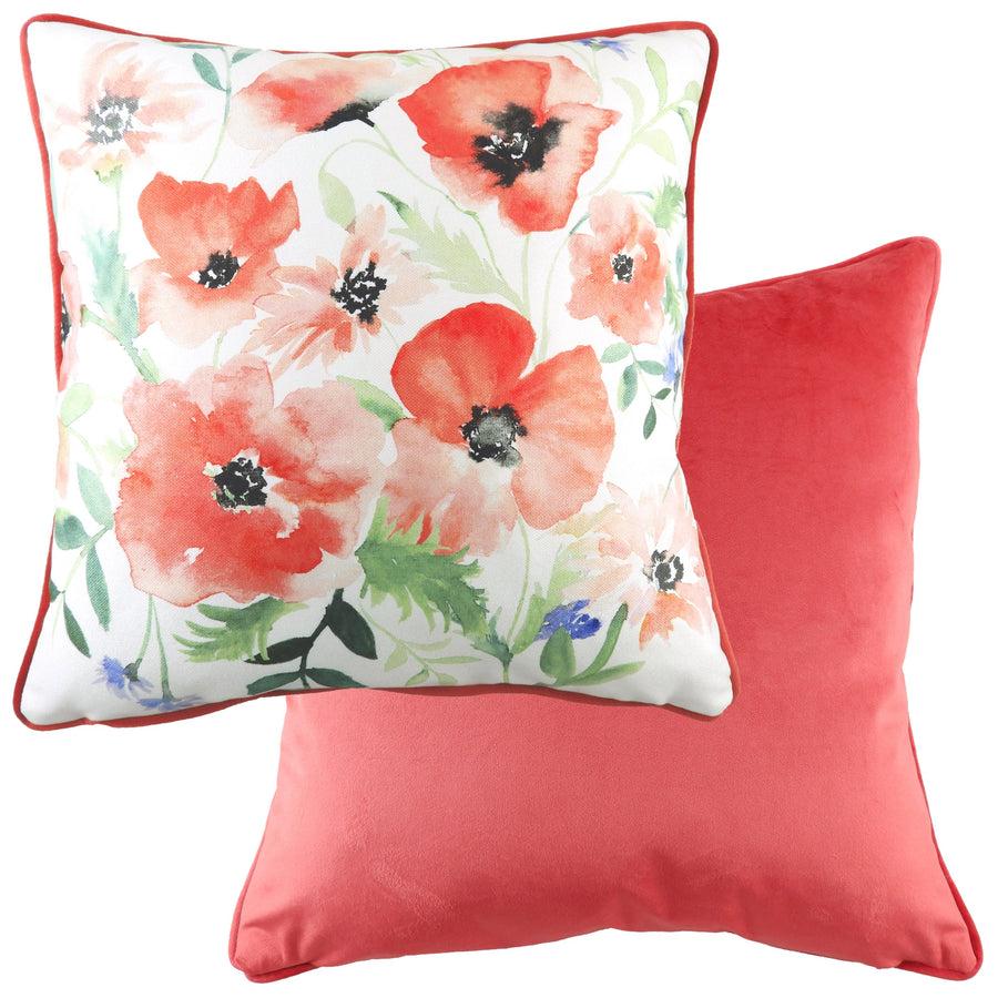 Lucy Coral Painted Floral Piped Cushion