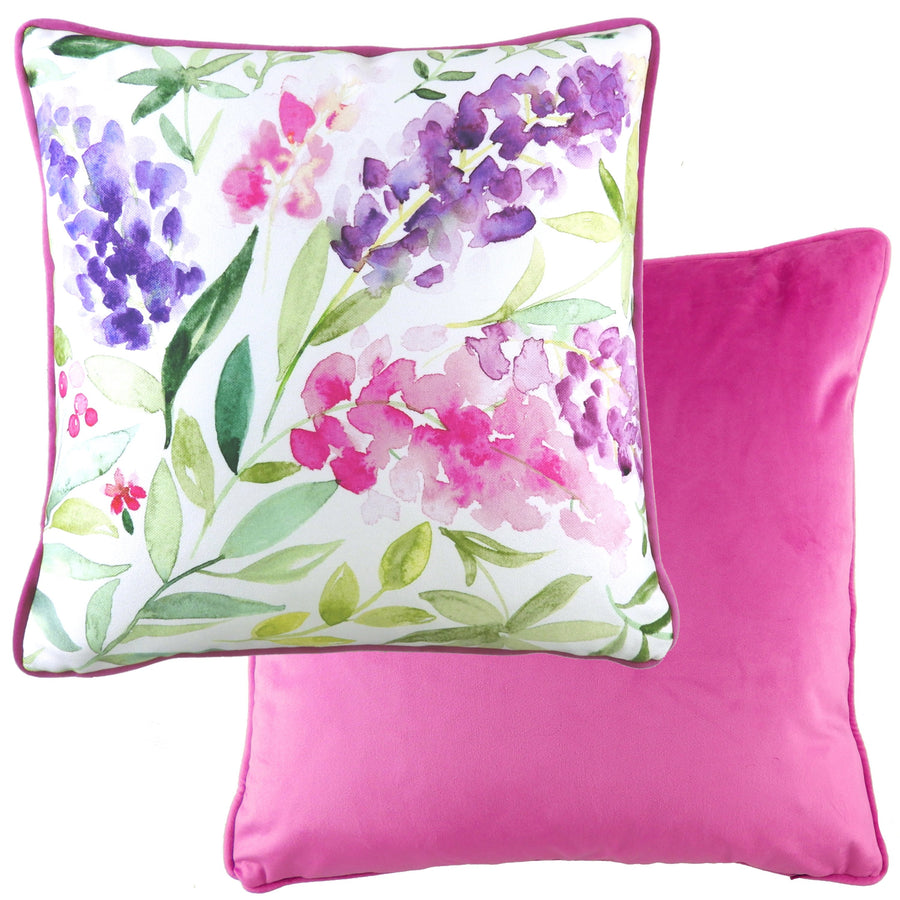 Evie Fuschia Painted Floral Piped Cushion