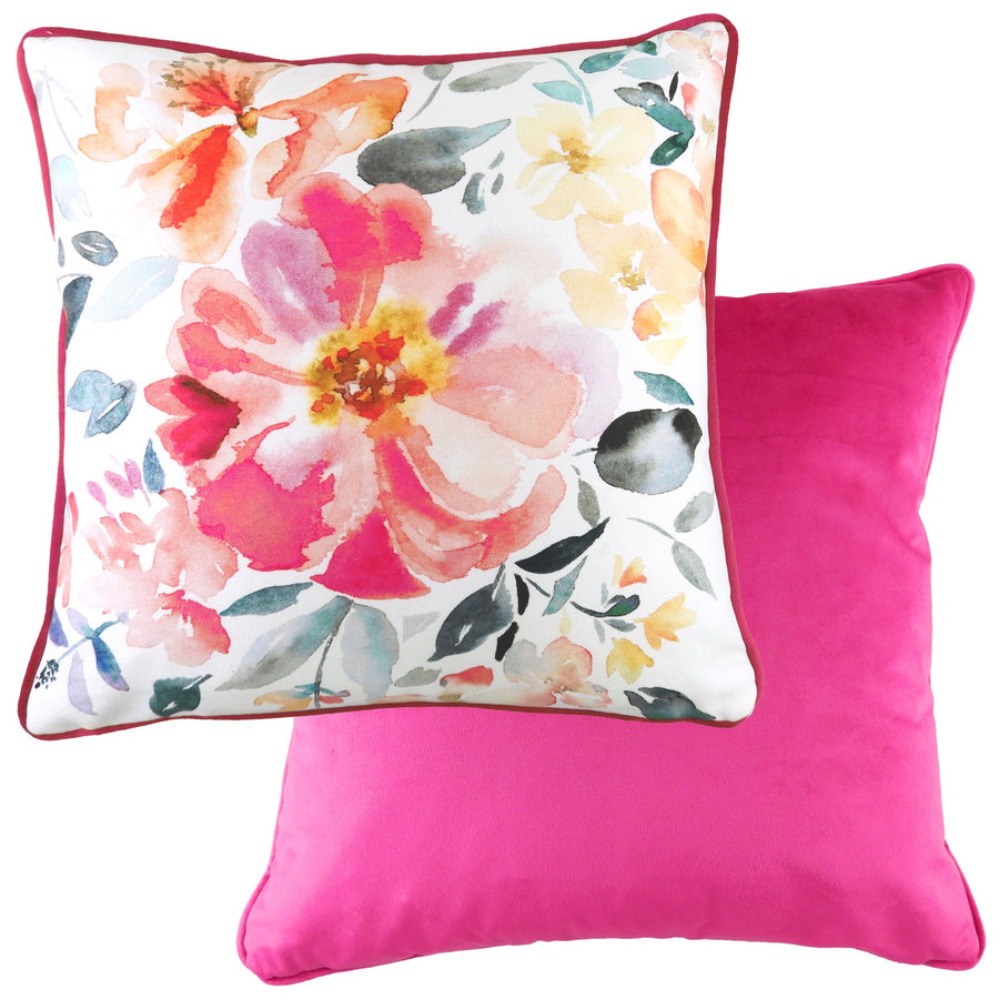 Isla Magenta Painted Floral Piped Cushion
