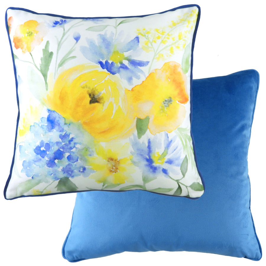 Bella Azure Painted Floral Piped Cushion