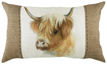 Hessian Highland Cow Oblong Cushion