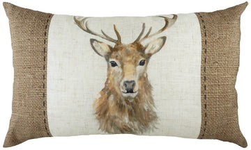 Hessian Stag Oblong Cushion