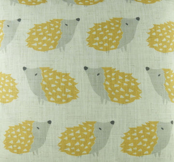 Hulder Hedgehog Repeat Ochre Fabric - by the metre