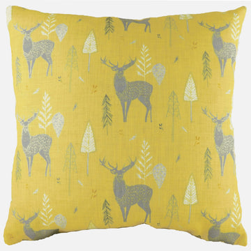 Hulder Stag Repeat Ochre Cushion