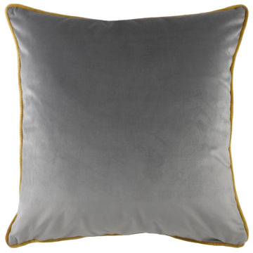 Indulgence Velvet Steel With Gold  Piping Cushion