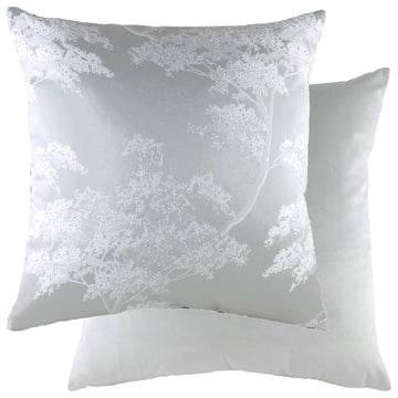 Japonica Silver/Velvet Silver Cushion
