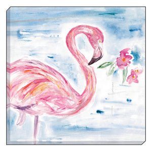 Jennifer Rose Gallery Coastline Large Flamingo Canvas Wall art