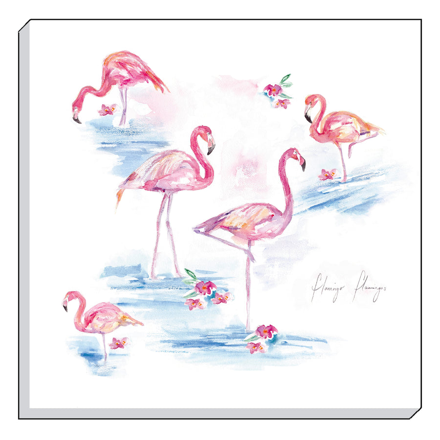 Jennifer Rose Gallery Coastline Flamingos Canvas Wall art