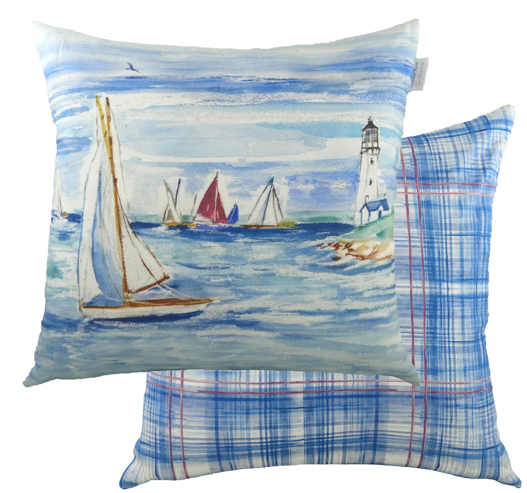 Jennifer Rose Gallery Coastline Lighthouse Cushion
