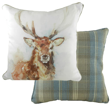 Jennifer Rose Gallery Watercolour Stag Piped Cushion