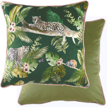 Jungle Leopards Piped Cushion