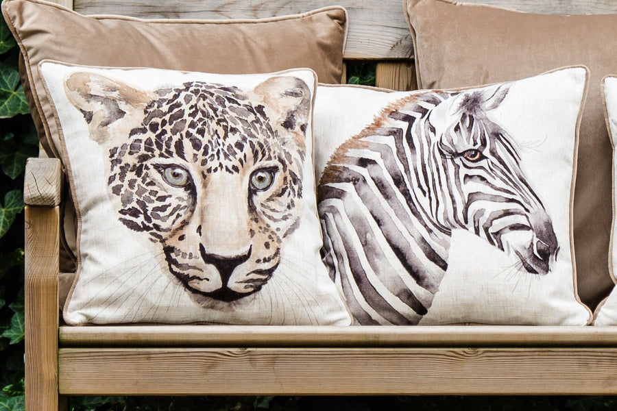 Safari Leopard Piped Cushion