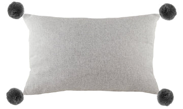 Lola Light Grey Pom Pom Cushion