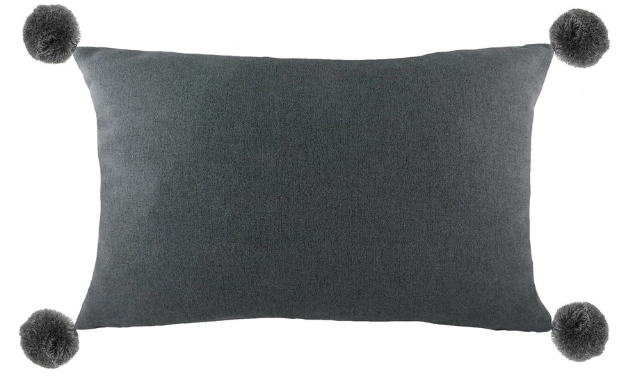 Lola Dark Grey Pom Pom Cushion