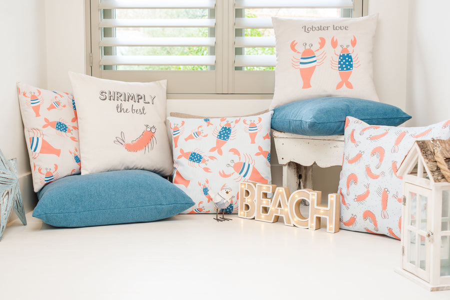 Shrimps Blue Repeat Cushion