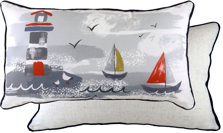 Nautical Lighthouse Oblong Piped Cushion