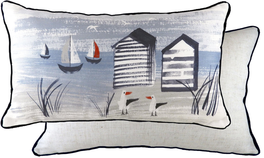 Nautical Beach Huts Oblong Piped Cushion