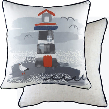 Nautical Lighthouse Piped Cushion