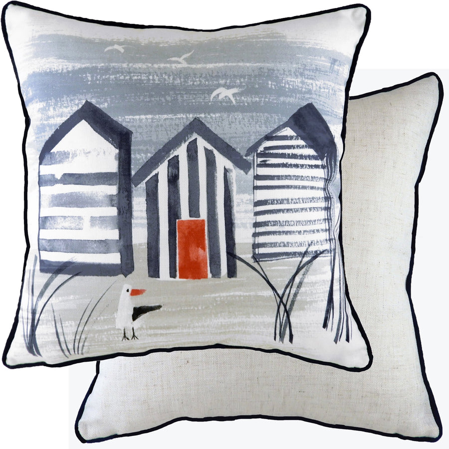 Nautical Beach Huts Piped Cushion