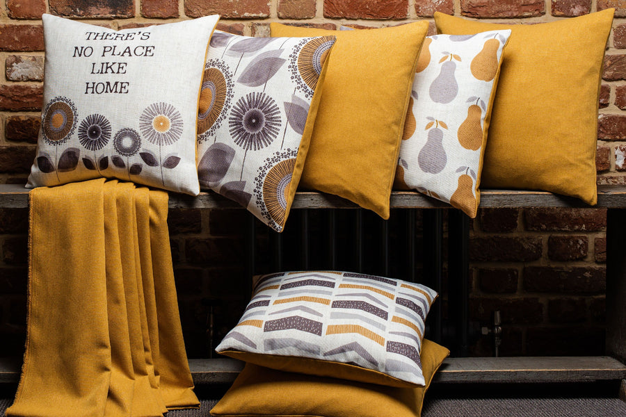 Retro Floral Ochre Cushion