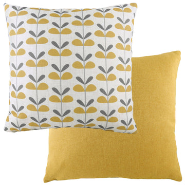 Retro Leaves Ochre Cushion