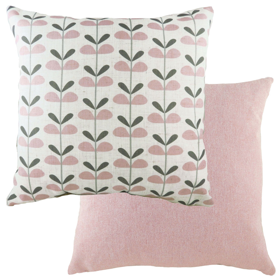 Retro Leaves Pink Cushion