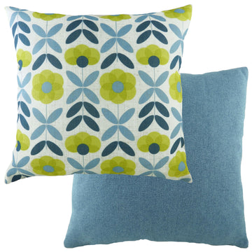 Retro Floral Denim Cushion