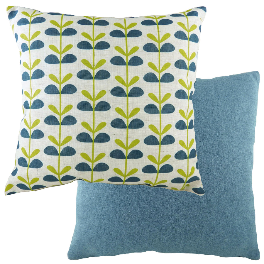 Retro Leaves Denim Cushion