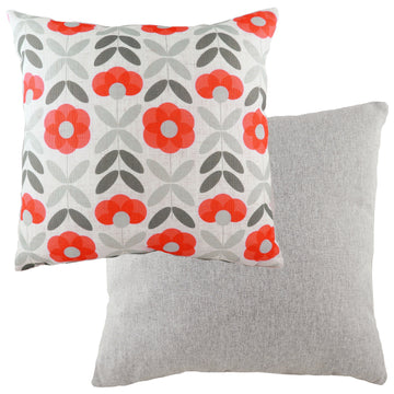Retro Floral Coral Cushion