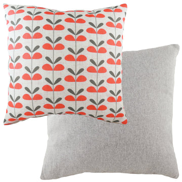 Retro Leaves Coral Cushion