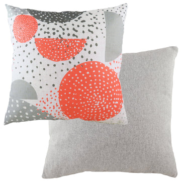 Retro Circles Coral Cushion