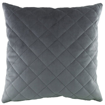 Royal Velvet Dark Grey Diamond Quilted Cushion