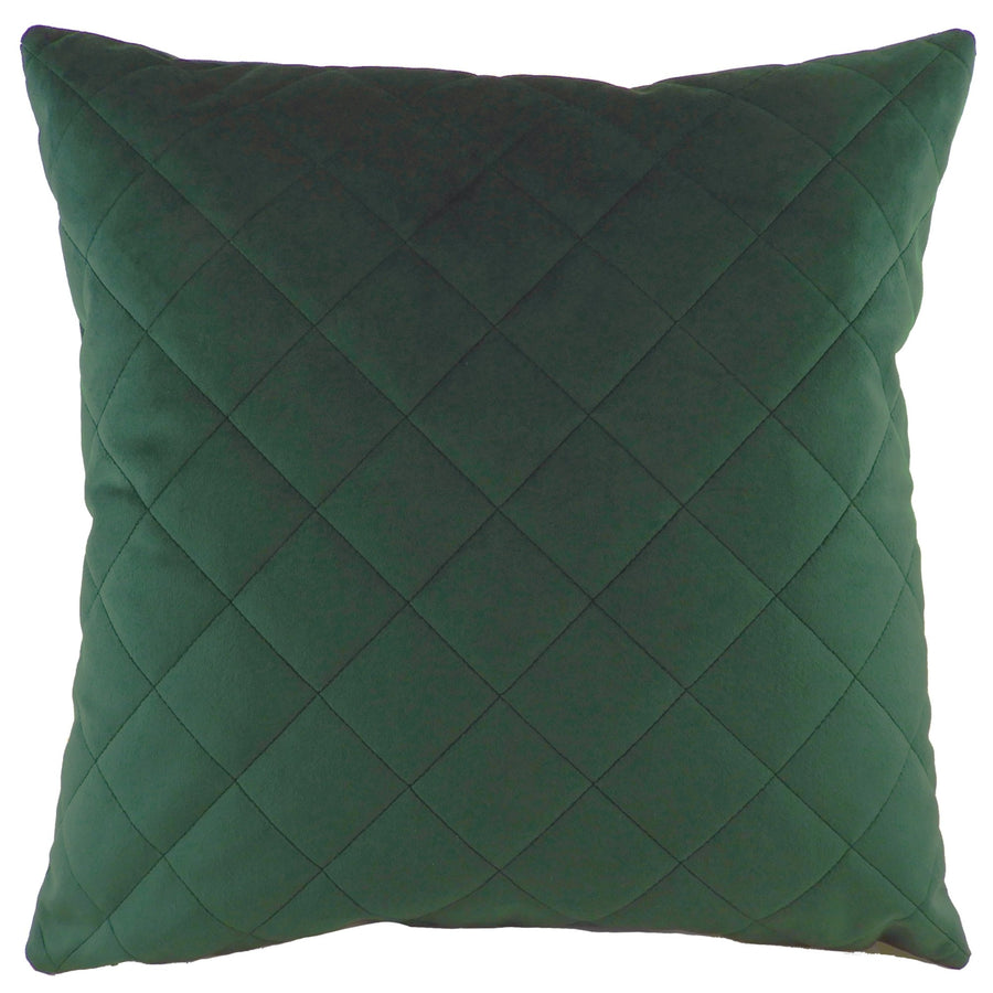 Royal Velvet Dark Green Diamond Quilted Cushion
