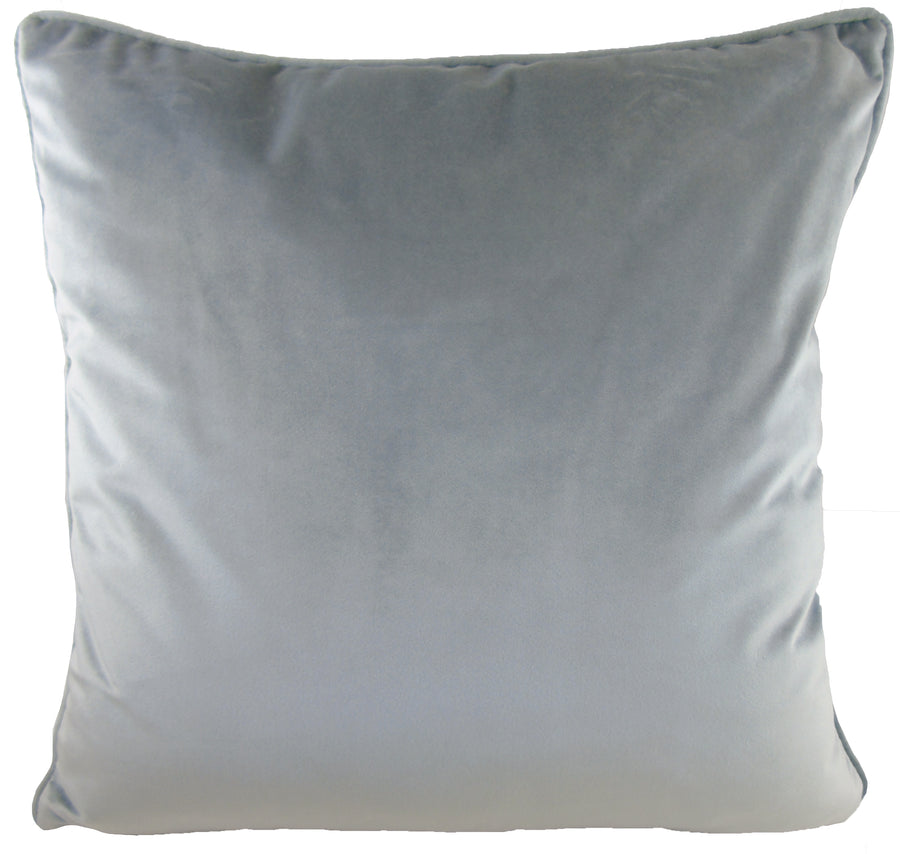 Royal Velvet Light Grey Piped Cushion