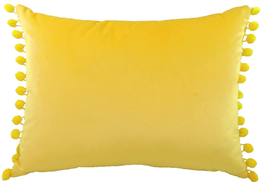 Royal Velvet Yellow Pom Pom Trim Cushion