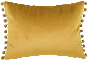 Royal Velvet Gold Pom Pom Trim Cushion