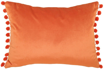 Royal Velvet Pumpkin Pom Pom Trim Cushion