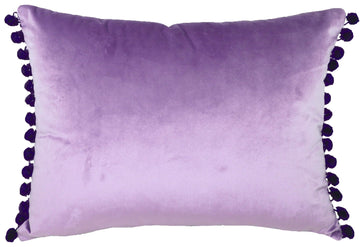 Royal Velvet Lilac Pom Pom Trim Cushion