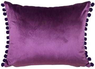 Royal Velvet Amethyst Pom Pom Trim Cushion