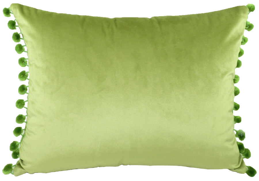 Royal Velvet Green Pom Pom Trim Cushion