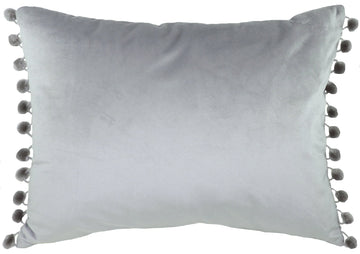 Royal Velvet Light Grey Pom Pom Trim Cushion