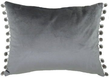 Royal Velvet Dark Grey Pom Pom Trim Cushion