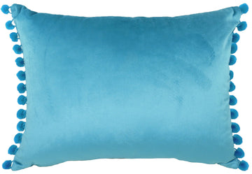 Royal Velvet Teal Pom Pom Trim Cushion