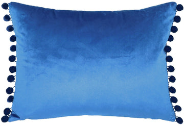 Royal Velvet Azure Pom Pom Trim Cushion