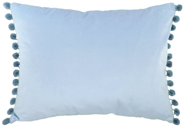 Royal Velvet Cornflower Blue Pom Pom Trim Cushion