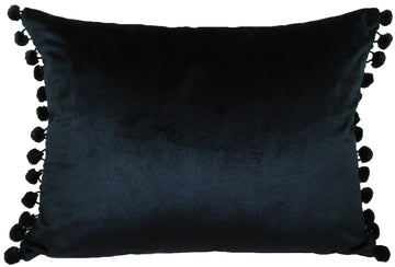 Royal Velvet Black Pom Pom Trim Cushion