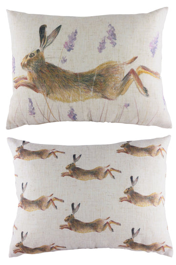 Rural Leaping Hare Cushion