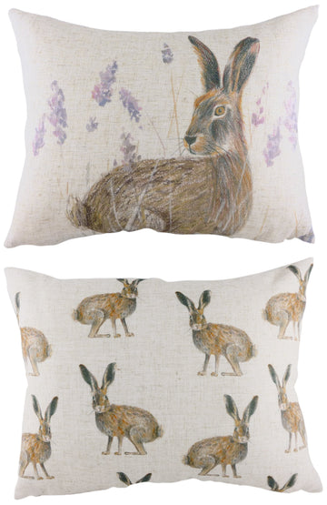 Rural Standing Hare Cushion