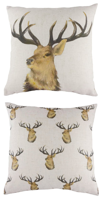 Rural Stags Head Repeat Cushion