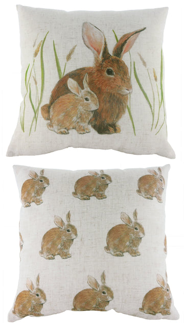 Rural Bunnies Repeat Cushion